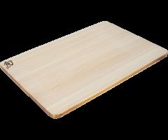 Medium Hinoki board with urushi edge angled view showing urushi edge